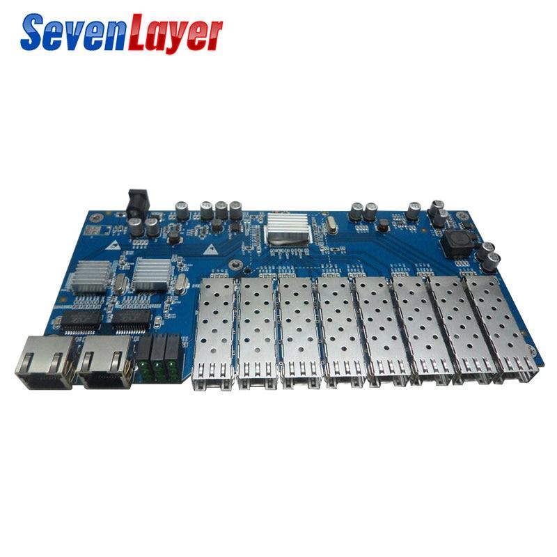 Gigabit Ethernet Fiber Optical Switch 8 SFP Solt 2 RJ45 PCBA Board  Media Converter 10/100/1000M Utp 8 Port 1.25G SFP
