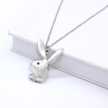 Cute play rabbit charm necklaces women jewelry funny animals Pendant necklace man Gentleman jewelry drop ship 3