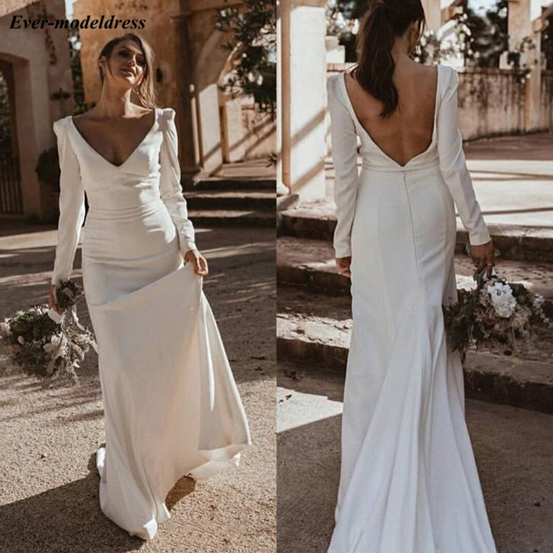 Vintage Mermaid Wedding Dresses With Long Sleeves Deep V-Neck Backless Church Bridal Gowns Sweep Train Custom Made 2019 Vestido