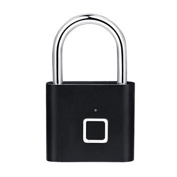 QZT Electric Fingerprint Lock Biometric Smart Home Door Lock USB Charging Digital Security Door Lock Small Fingerprint Padlock 7