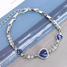 Ocean Blue Love Heart Bangle Bracelet Shiny Crystal Rhinestone Bracelet Chain Gift For Women Bohemia Female Elegant Jewelry(China)