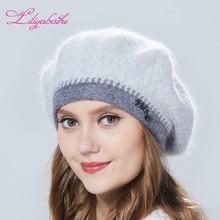 Liliyabaihe Winter Women Beret With Lurix Double Warm Hat Kn