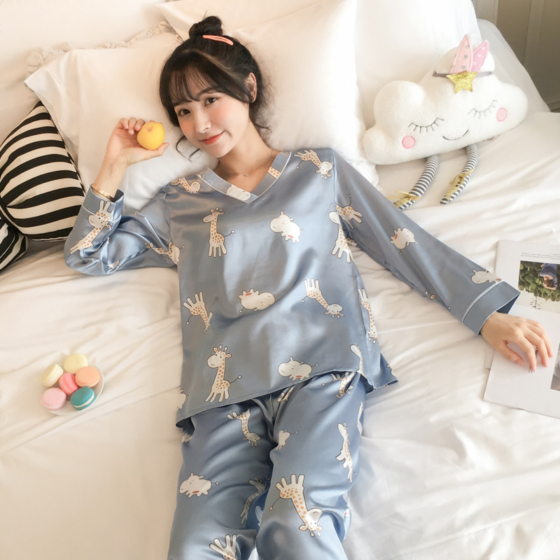 Pajamas Women's Spring And Autumn Viscose Long Sleeve Korean-style Students Cute Giraffe Two-Piece Set Silk Home Wear