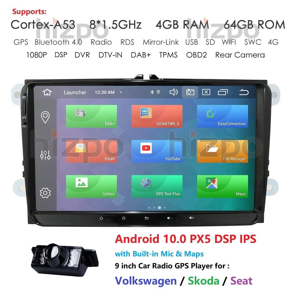Autoradio 2 Din Octa Core 9 pouces Android 10   Pour VW Passat POLO GOLF Tiguan CC Skoda Fabia Rapid Yet Seat Leon 4G de RAM 64G de ROM