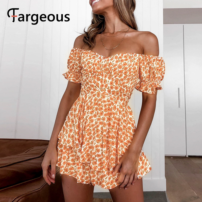 Fargeous Off Shoulder Boho Print Short Jumpsuit 2020 Summer Women Fashion Ruffle High Waist Rompers Girl Beach Holiday Jumpsuit title=