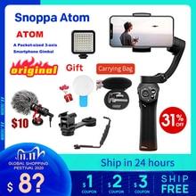 Snoppa atom 3 axis cardan handheld dobrável bolso tamanho estabilizador para iphone x huawei p30 gopro hero 7 pk liso 4