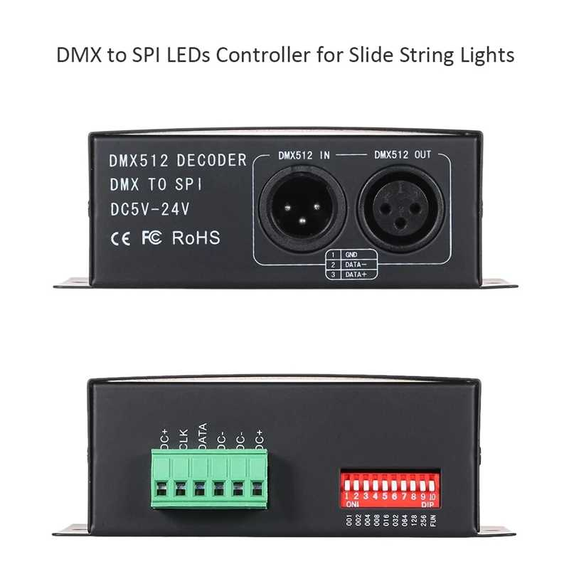 Leds Controller Working with Console for Slide String Lights At Dj Clue Bar Ktv Stage Dc 5-24V Rgbw Dmx512 Decoder Dmx To Spi Si