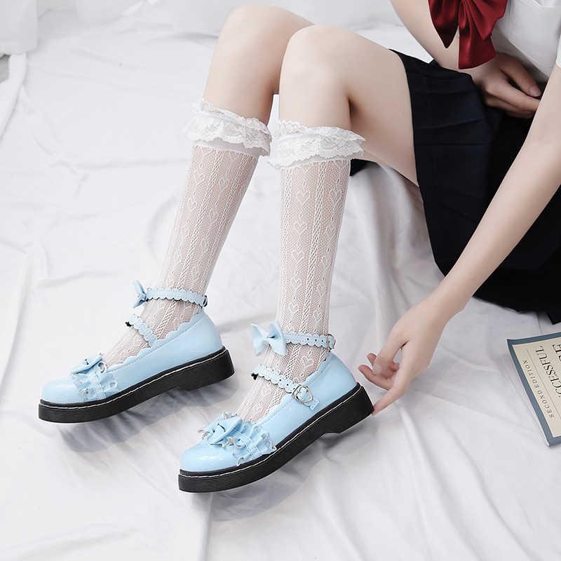 Tatlı Lolita ayakkabı çocuklar 2020 yeni yaz Merlot Lolita ayakkabı net kırmızı orta topuk düz tabanlı üniforma JK ayakkabı