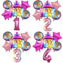 6 pçs disney princesa bolo folha balões chuveiro do bebê 32 polegada número decorações da festa de aniversário crianças brinquedos 18 polegada globos