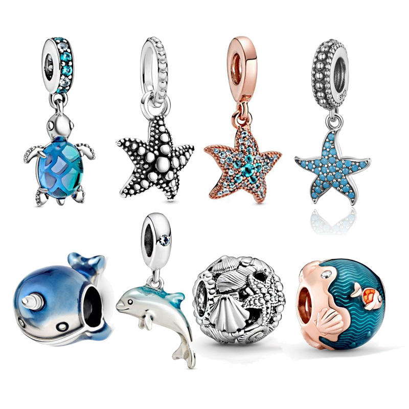Hot Sale Authentic 925 Sterling Silver Mermaid Beads Charms Fit Original 3mm Bracelet DIY Jewelry Making Dropshipping