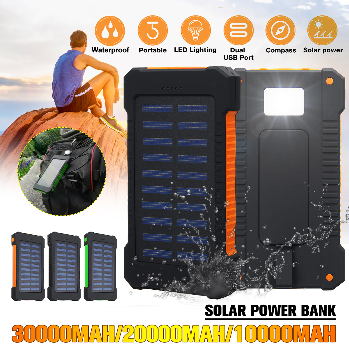 20000mAh/30000mAh Solar <font><b>Power</b></font> <font><b>Bank</b></font> Waterproof Solar Charger Dual USB External Charger Powerbank for Xiaomi for Huawei for iPhone image