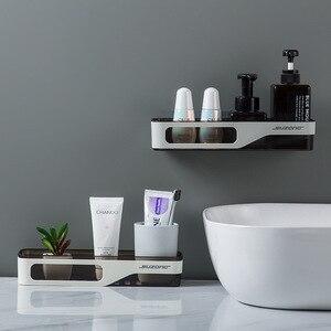Image 4 - Wall Mounted Bathroom Organizer Shelf Cosmetic Shampoo Storage Rack Kitchen Plastic Holder Household Items Bathroom Accessories