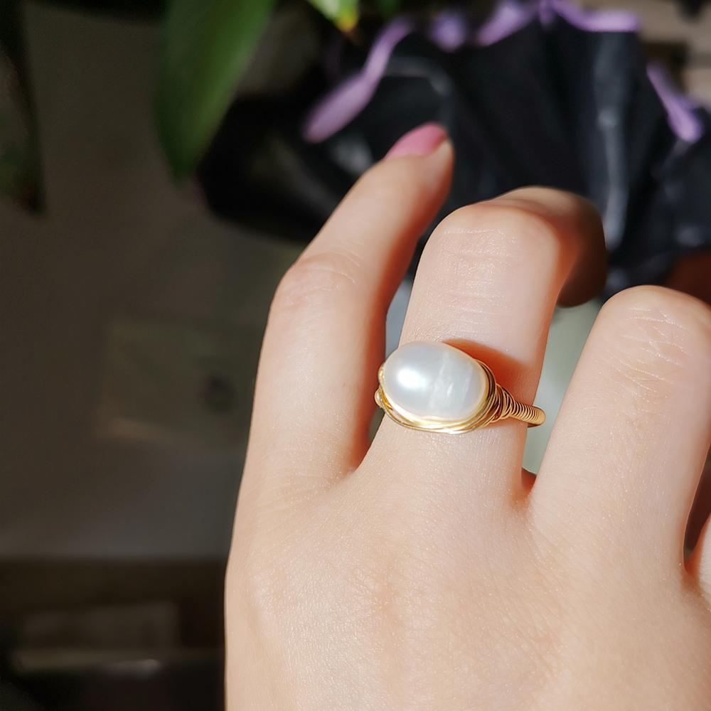 Image 5 - Pearl Ring Natural freshwater pearl ring For women Handmade Creative Gold rings Wedding Party luxury pearl rings-in Rings from Jewelry & Accessories