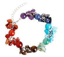 FYJS Unique Silver Plated Handmade 7 Colors Quartz Stone 8 mm Round Beads with Irregular Shape Gravel Bracelet Chakra Jewelry недорого