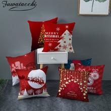 Fuwatacchi Красный Печатный Рождественский Чехол на подушку, подарочные декоративные наволочки для подушки, для домашнего дивана, полиэфирные наволочки 45*45 см