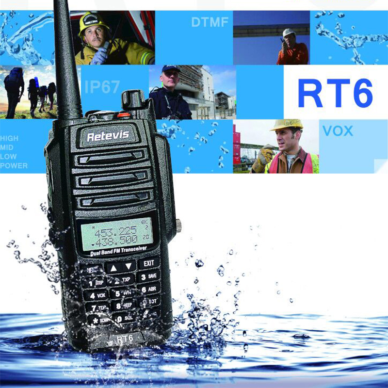 Retevis RT6 su geçirmez Walkie Talkie IP67 5W 128CH çift bant VHF UHF radyo VOX FM LCD ekran taşınabilir yürüyüş konuşma telsiz
