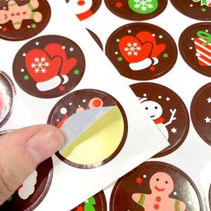 Image 4 - 1600 шт./лот Kawaii Merry Christmas, Санта Клаус, олень, круглые самоклеящиеся декоративные подарочные наклейки, подарочные этикетки, оптовая продажа