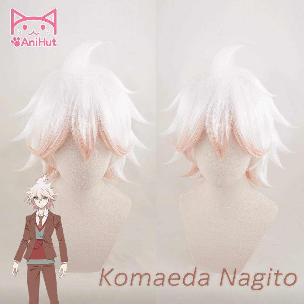AniHut V3 Peruca Danganronpa Komaeda Nagito Cosplay Anime Peruca de Cabelo Cosplay Resistente Ao Calor Do Cabelo Sintético Komaeda Nagito Cosplay