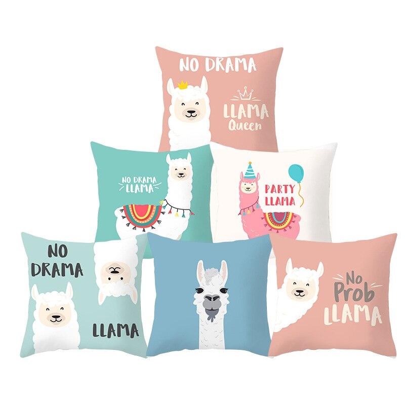 Cartoon Alpaca Pillow Case Cover Alpaca Decorative Pillow Cover For Sofa Living Room Pink Alpaca Throw Pillowcase Home Decor