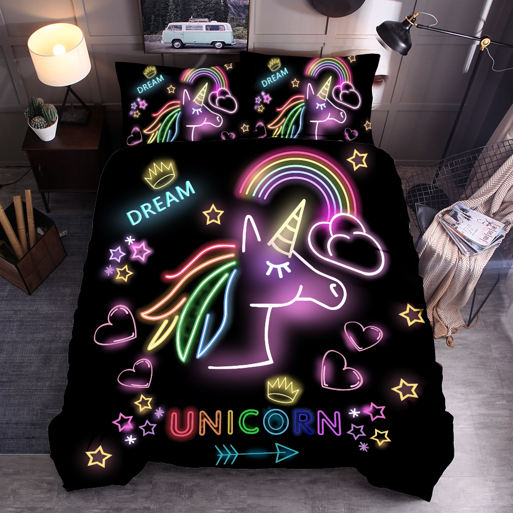 Image 5 - 3D Cute Unicorn Bedding set Duvet cover and pillowcases EU / AU /US size for girls-in Bedding Sets from Home & Garden