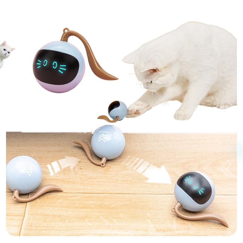 Animal de estimação inteligente interativo gato brinquedos colorido led auto rotativa bola brinquedos usb recarregável gato gatinho eletrônico bola presente para o cão de estimação