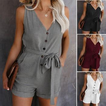 2020 New Women Casual V-neck Summer Jumpsuit Retro Button Sleeveless Jumpsuit Lady Mid Waist Straight Belt Bow Women's Shorts