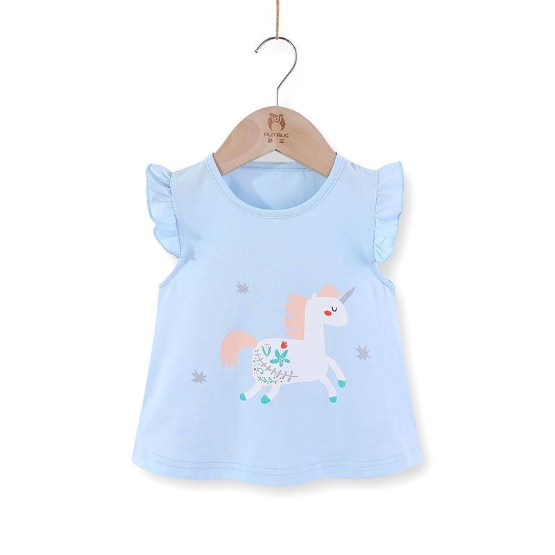 VIDMID Children baby girls kids Short Sleeve T-Shirts Baby girls unicorn rabbits summer girls casual cute cotton tops tees p2007 5