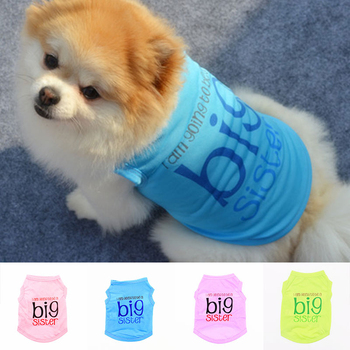 Fashion Classic Dog Shirt Dog Vest Big Sister Puppy Clothes For Small Medium Dogs Colored Cute Spring Pet Supplies Size XS-L New image