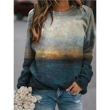 Женский пуловер с длинным рукавом повседневный свитшот 3d принтом