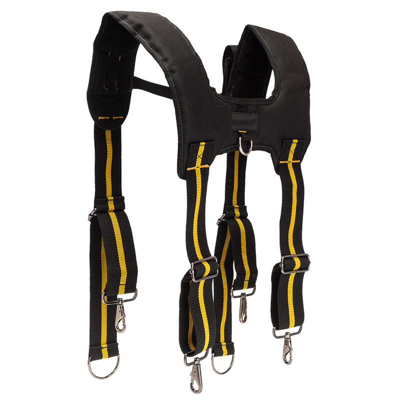 H-Type Design Padded Tools Belt Heavy Duty Work Braces Suspenders With 4 Support Loops For Reducing Waist Weight Tool Pouch