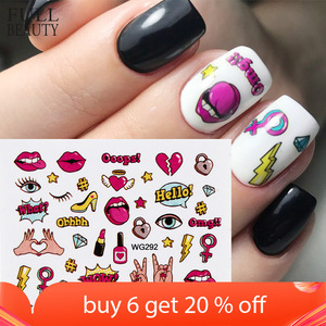 Full Beauty 1PCS Colorful Water Transfer Nail Sticker Sliders Lovely Cat Cake Rainbow Image Nail Art Decorations Decals CHWG