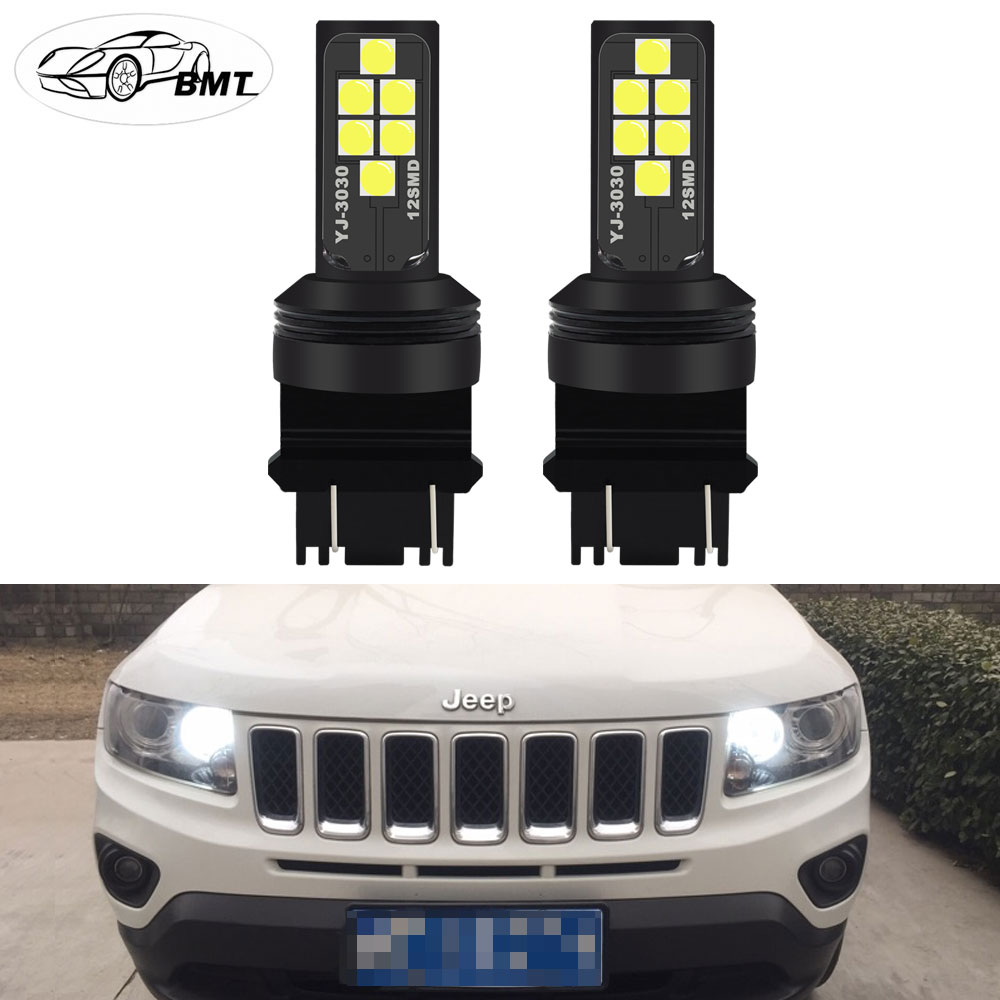 BMT 3157 <font><b>LED</b></font> Bulbs P27/5W P27/7W <font><b>T25</b></font> 12SMD Super Bright 12V For 2011-up Jeep Grand Cherokee Compass <font><b>LED</b></font> Daytime Running Lights image