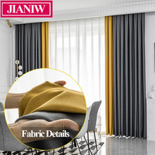 JIANIW Faux Linen 80%-90% Shading Thick Thermal Insulated Blackout Blinds Curtains in the Bedroom Living Room Drapes Custom Made