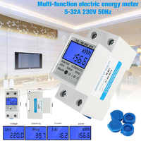 New DDM15SD Digital Electric Meter AC 220V 50HZ Meter DIN Rail KWh Meter 5-80A Single Phase Two Wire LCD Backlit Meter