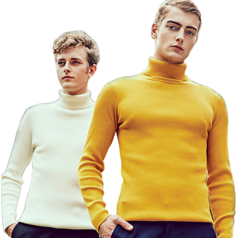 Mens Sweaters Slim Fit Male Streetwear Pullovers Turtleneck Thick Wool Pullover Sweater New Warm Solid Color Casual  Pullovers