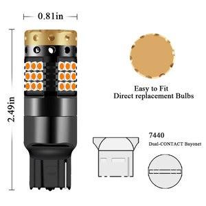 Image 3 - 2xno hyper flash 1156 ba15s p21w bau15s py21w t20 7440 lâmpada transformar a luz do sinal âmbar 12 24v 3030 36/45smd canbus livre de erros leds