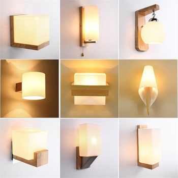 Solid wood log wall lamp simple modern Japanese style living ...