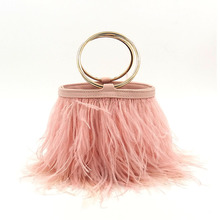 Women PU Party Colorful Feather Day Clutches Chains Tassel Tote Luxury Bucket Evening Bag For Wedding Female Real Fur Handbag