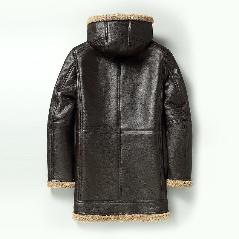 Winter Warm Real Leather Jacket Men Medium Long Lamb Real Fur Shearling Casual Sheepskin Wool Leather Coat 1877 LWL1089