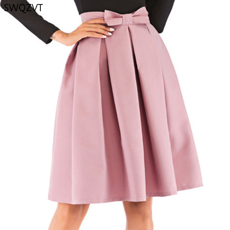 Women Skirts 2020 New Bow Solid Color Pleated Ball Gown Women Summer Casual Ladies  Knee-Length Midi Skirt  Women  Fashion Skirt