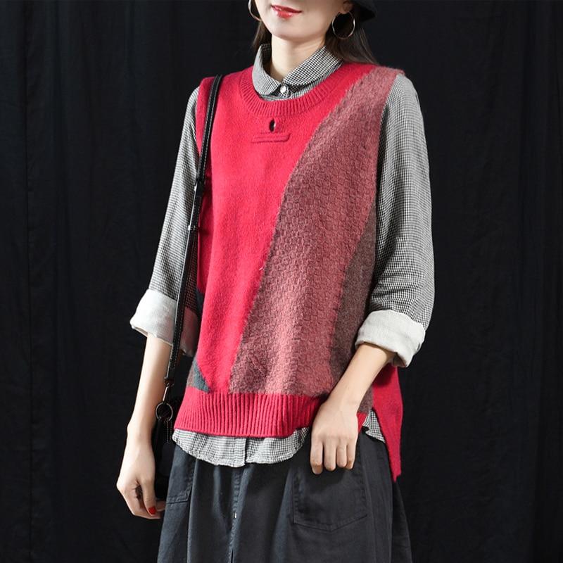 Sweater Vest Coat Loose Female Women Sleeveless Casual New O-Neck Retro Pullover Tops
