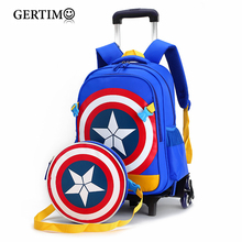 Primary School Trolley Bags Captain America Backpack Wheeled Children School Bag with Wheels ;Schoolbags with trolley stair climbing sack trolley unique wheel designed with carbon steel material 6 wheeled stair climbing folding hand trolley