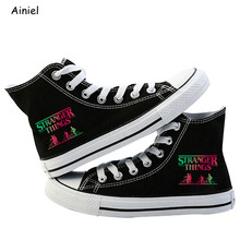 Stranger Things 3 Eleven Dustin Cosplay Shoes Canvas Shoes High Shoes Casual Breathable Couple Flat Shoes for Girls Boys Lovers