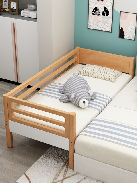 Customize Beech Solid Wood Children's Bed Boys And Girls With Guardrail Widening Small Bedside Bed Baby Stitching Large Bed