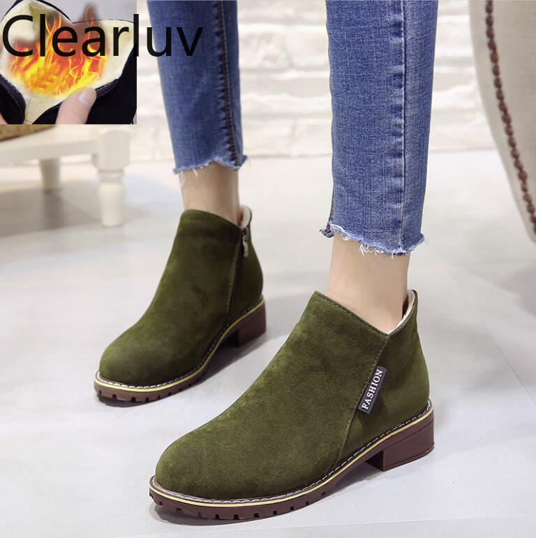 Winter New classic ankle boots women snow casual shoes thick heel fur warm plush boot