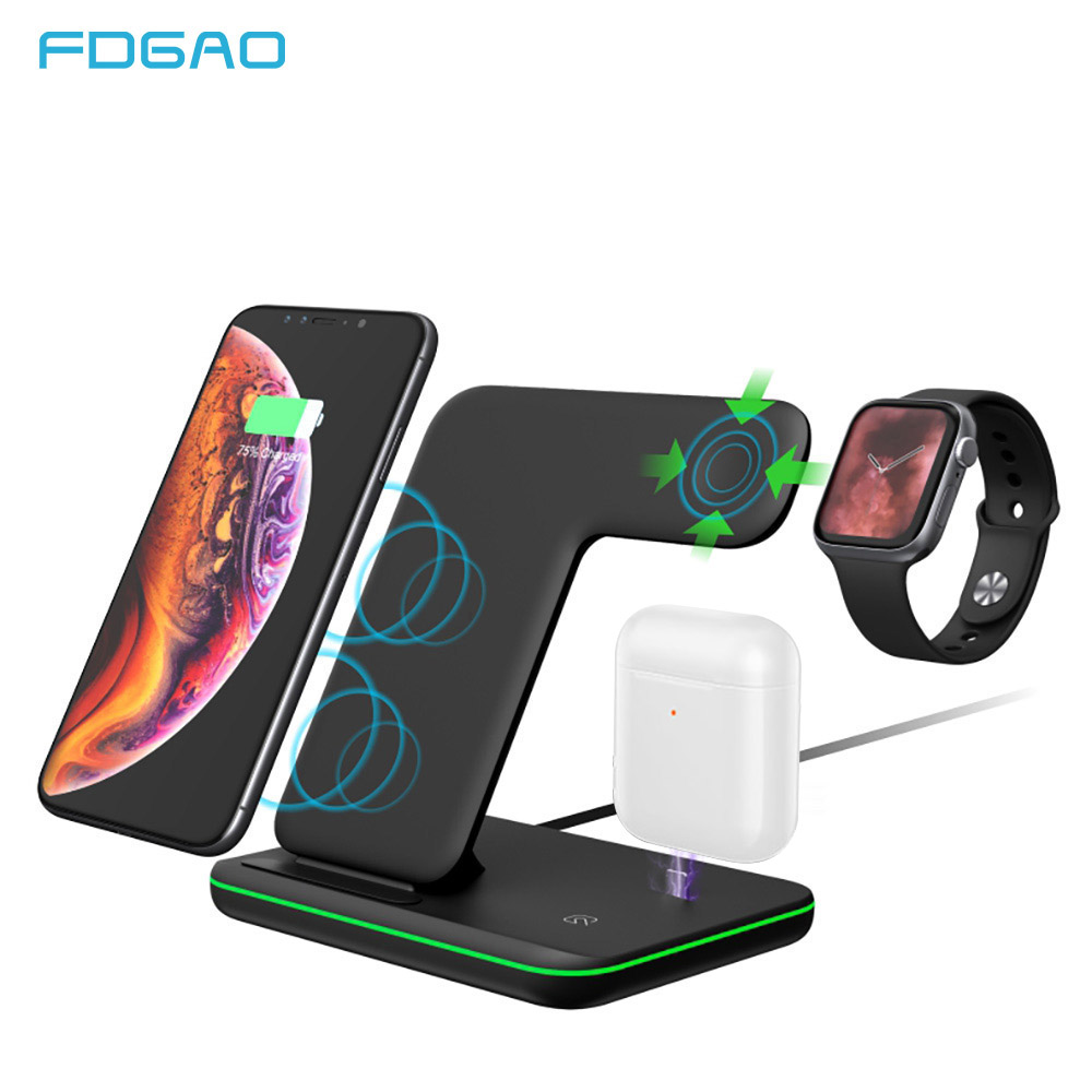 15W <font><b>Qi</b></font> Fast Wireless Charger For iPhone X XS XR 8 For Apple <font><b>Watch</b></font> 4 3 2 1 Airpods Quick Charge 3.0 Wireless Charging Dock Stand image
