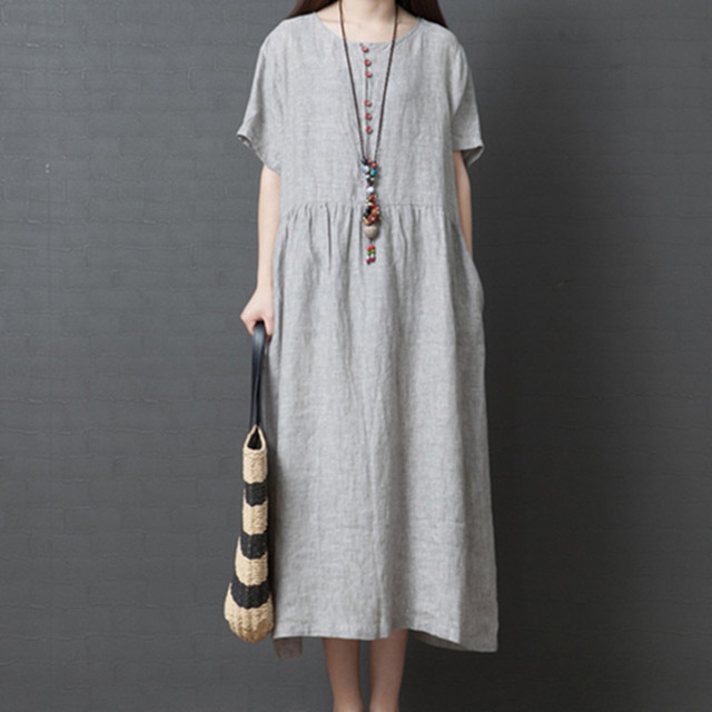 Uego Short Sleeve Loose Summer Dress Button striped Cotton Linen Vintage Dress Plus Size Women Holiday Casual Midi Dress 3