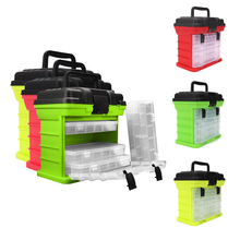 Portable 5 Layer PP+ABS Fishing Tackle Box with Plastic Handle Big Fishing Lures Tools Box Fishing Accessories Case 26x17x26cm