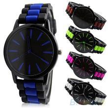 Fashion Bicolor Silicone Strap Quartz Watch Jelly Color Brown Unisex Sports