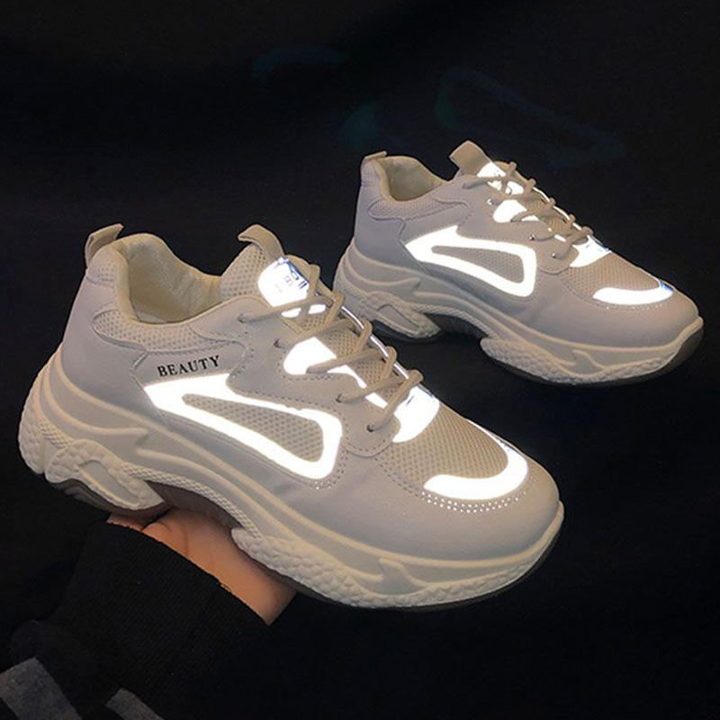 Fashion Platform Sneakers For Women Shoes 2020 Hot Reflective Chunky Sneakers Women Causal Shoes Woman Trainers Tenis Feminino